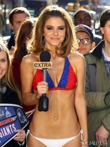 Extra's Maria Menounos Loses Super Bowl Bet, Dons Bikini in Times Square